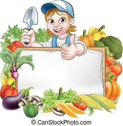 donna, giardiniere, verdura, segno