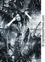 donna, giardino