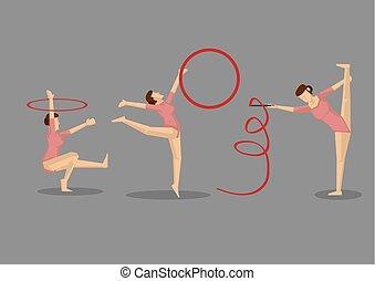 donna, ginnastico, pavimento, ginnasta, compiendo, esercizi