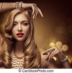 donna, gioielleria, bellezza, modella, trucco, ritratto, bello, giovane ragazza, con, capelli lunghi, proposta, gioielleria