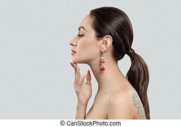 donna, gioielleria, corallo, orecchini, argento, rosso, bello