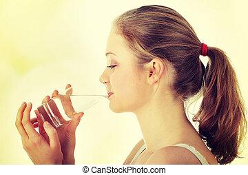 donna, giovane, acqua, fresco, bere, freddo