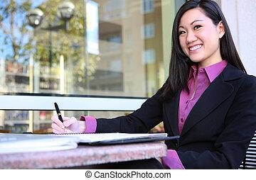 donna, giovane, affari, asiatico