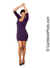 donna, giovane, africano, ballo