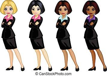 donna, giovane, americano, carino, ufficio, caucasico, africano, indonesiano, asiatico