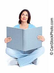 donna, giovane, book.
