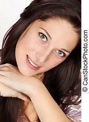 donna, giovane, capelli, nero, ritratto, sorridente