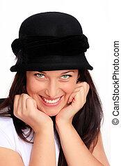 donna, giovane, capelli, nero, sorridente, cappello