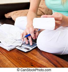 donna, giovane, contabilità