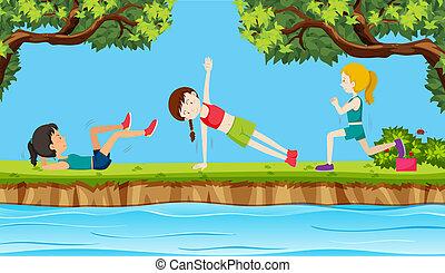donna, giovane, esercizio, natura