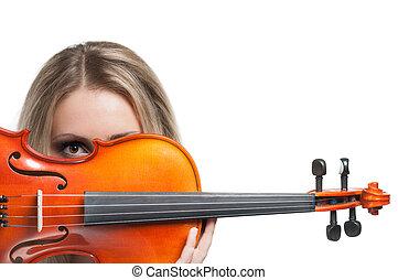 donna, giovane, esso, guardando attraverso, presa a terra, violino
