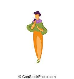 donna, giovane, illustrazione, elegante, vettore, fondo, bianco, moda, vestiti