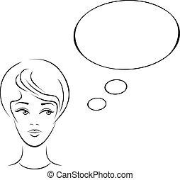donna, giovane, illustrazione