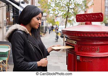 donna, giovane, incarico, letters.