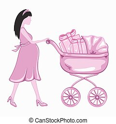 donna, giovane, incinta