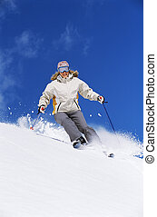 donna, giovane, sciare