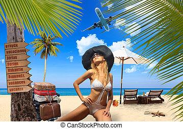 donna, giovane, spiaggia