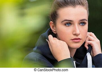 donna, giovane, triste, adolescente, femmina, ragazza