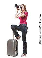 donna, giovane, turista, fotografare