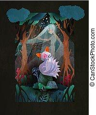 donna, giramento, nine-taled, carattere, fairytale, volpe, giovane, illustrazione, foresta, asiatico, fronte, kumiho, o