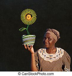 donna, girasole, zulu, lavagna, vendite, africano, cesto, sud