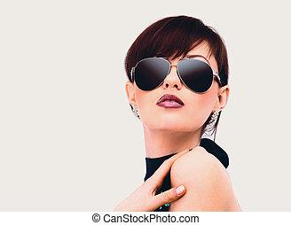 donna, glasses., giovane, ritratto, scuro
