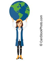 donna, globe., presa a terra