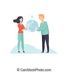 donna, globo, giovane, illustrazione, vettore, presa a terra, terra, uomo