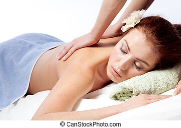 donna, godere, giovane, massaggio