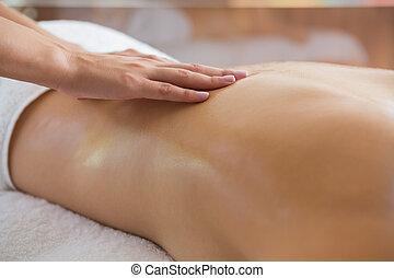 donna, godere, massaggio posteriore
