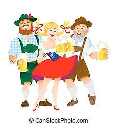 donna, grande, bavarese, uomini, vetro, birra
