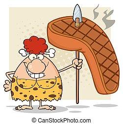 donna, grande, caverna, capelli, bistecca, rosso