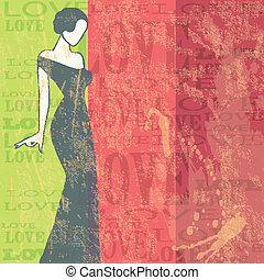 donna, grunge, illustration., -, vettore, fondo, sexy