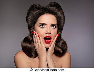 donna, guance, perno, bellezza, product., mano., prese, ...
