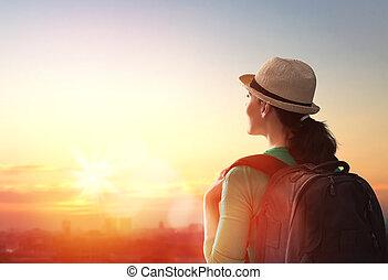 donna guardando, a, città