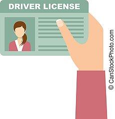 donna, guidando trasferimento licenza, automobile, titolo portafoglio mano
