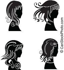 donna, ha regolato capelli, bellezza