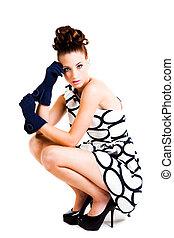 donna, haute, -, giovane, isolato, couture, abbigliamento