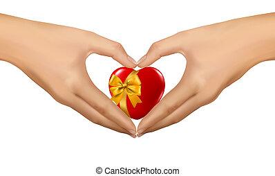 donna, heart., forma, mani