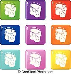 donna, icone, colorare, jeans, collezione, set, 9