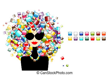 donna, icone, concetto, progetto moda, interfaccia, tuo