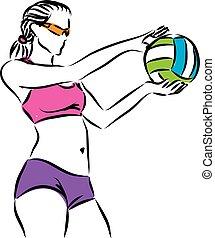 donna, illustr, giocatore, 4, tiro al volo, spiaggia