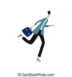 donna, illustration., affari, giacca, vettore, running., pantaloni