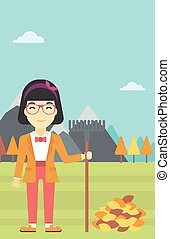 donna, illustration., foglie, autunno, vettore, rastrellamento