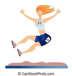 donna, illustrazione, luce, isolato, lungo, fondo., vettore, jump., bianco, athletics.