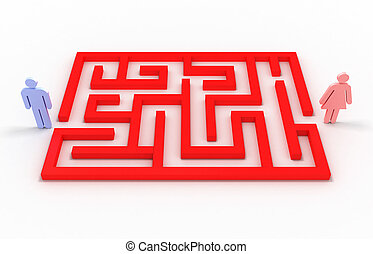 donna, immagine, fondo., labirinto, bianco, uomo, 3d