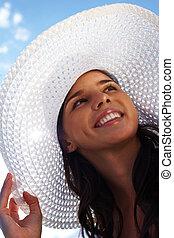 donna, in, cappello