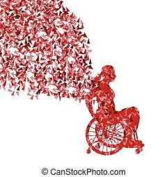 donna, in, carrozzella, vettore, fondo, invalido, persone