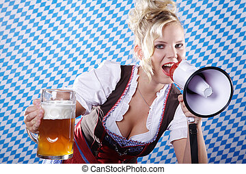 donna, in, dirndl, con, megafono