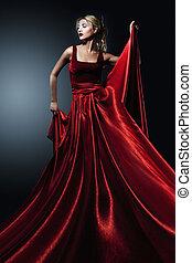 donna, in, elegante, rosso, dress., professare